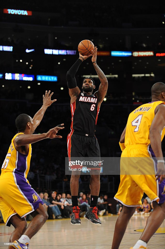 LeBron James #6 of the Miami Heat shoots against the Los Angeles Lakers at Staples Center on January 15, 2013 in Los Angeles, California.