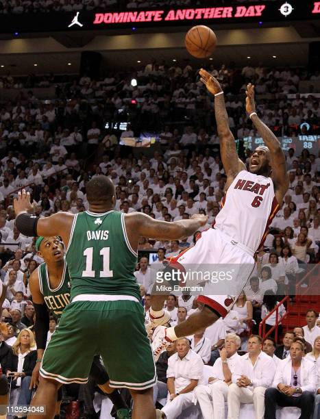 LeBron James of the Miami Heat shoots over Glen Davis of the Boston Celtics during Game Two of the Eastern Conference Semifinals of the 2011 NBA...