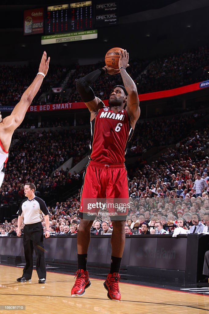 LeBron James #6 of the Miami Heat shoots over top against the Portland Trail Blazers on January 10, 2013 at the Rose Garden Arena in Portland, Oregon.