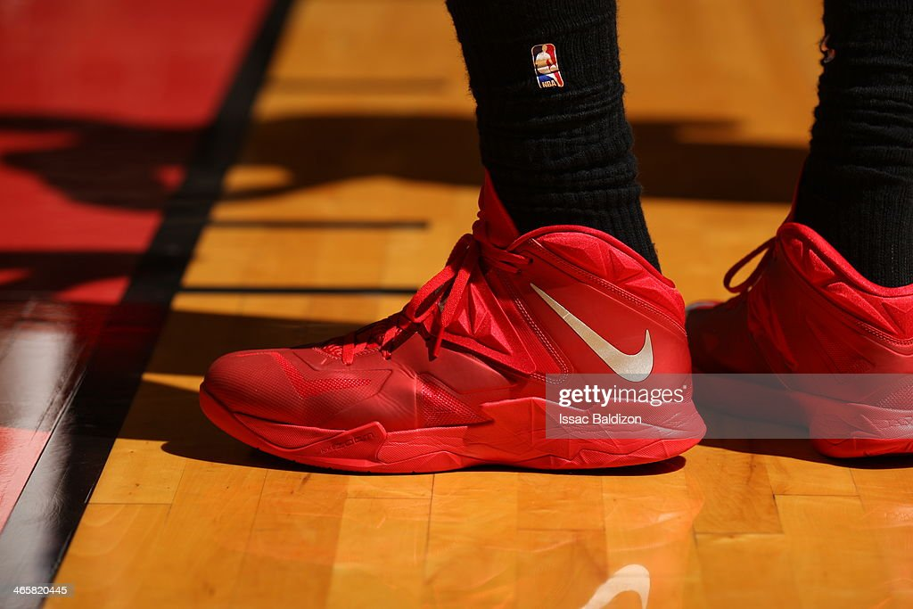<a gi-track='captionPersonalityLinkClicked' href=/galleries/search?phrase=LeBron+James&family=editorial&specificpeople=201474 ng-click='$event.stopPropagation()'>LeBron James</a> #6 of the Miami Heat showcases his sneakers against the Oklahoma City Thunder at the American Airlines Arena in Miami, Florida on Jan. 29, 2014.