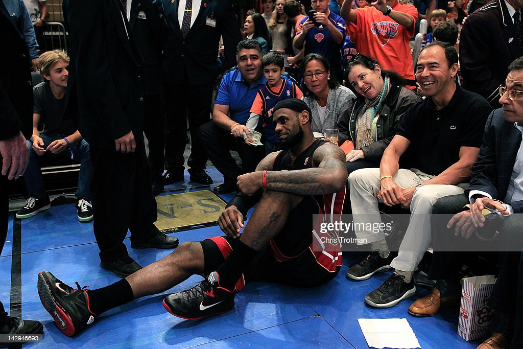 <a gi-track='captionPersonalityLinkClicked' href=/galleries/search?phrase=LeBron+James&family=editorial&specificpeople=201474 ng-click='$event.stopPropagation()'>LeBron James</a> #6 of the Miami Heat slips against the New York Knicks at Madison Square Garden on April 15, 2012 in New York City.