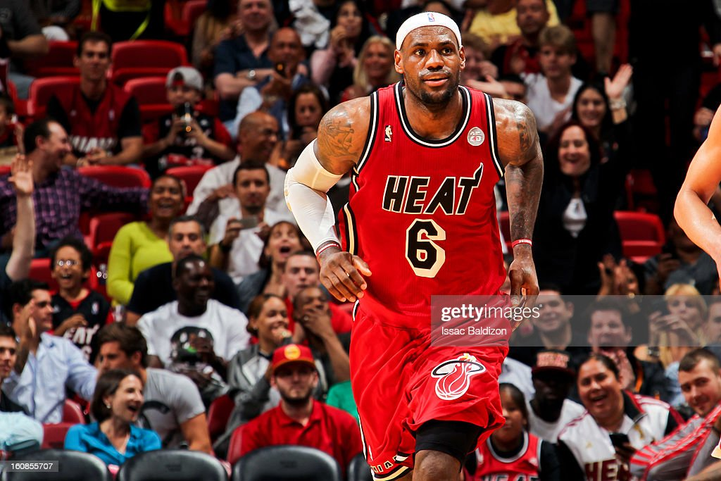 LeBron James #6 of the Miami Heat smiles after scoring against the Houston Rockets on February 6, 2013 at American Airlines Arena in Miami, Florida.