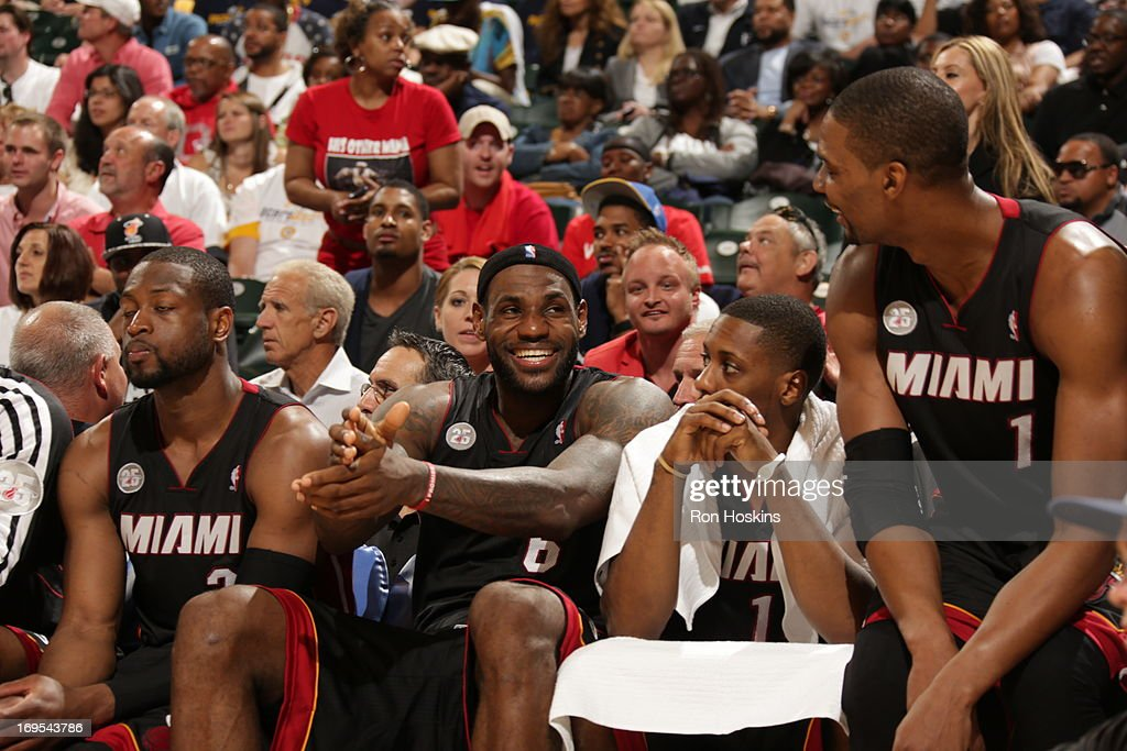 <a gi-track='captionPersonalityLinkClicked' href=/galleries/search?phrase=LeBron+James&family=editorial&specificpeople=201474 ng-click='$event.stopPropagation()'>LeBron James</a> #6 of the Miami Heat smiles from the bench during Game Three of the Eastern Conference Finals between the Miami Heat and the Indiana Pacers during the 2013 NBA Playoffs on May 26, 2013 at Bankers Life Fieldhouse in Indianapolis, Indiana.