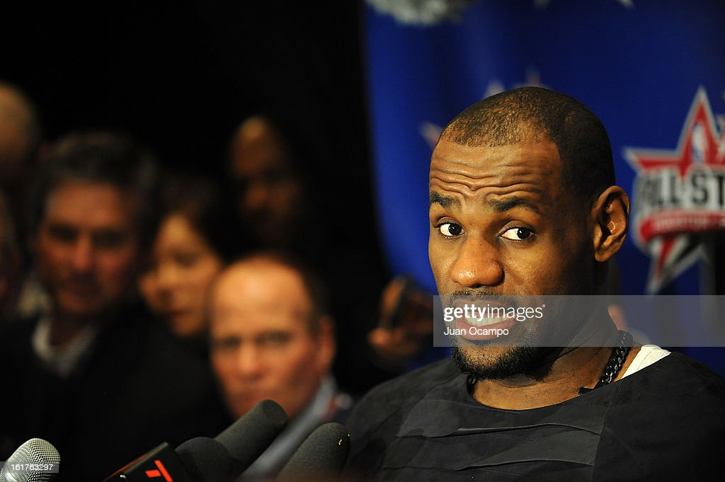 <a gi-track='captionPersonalityLinkClicked' href=/galleries/search?phrase=LeBron+James&family=editorial&specificpeople=201474 ng-click='$event.stopPropagation()'>LeBron James</a> #6 of the Miami Heat speaks with reporters during media availability as part of the 2013 NBA All-Star Weekend at the Hilton Americas Hotel on February 15, 2013 in Houston, Texas.