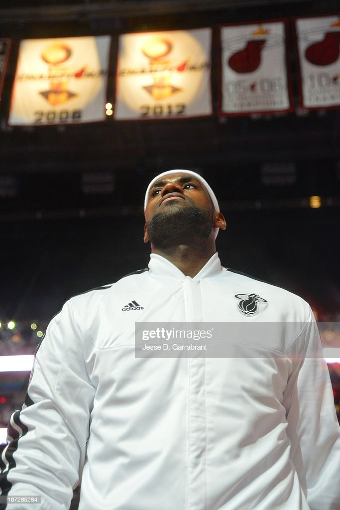 LeBron James #6 of the Miami Heat stands on court during the National Anthem prior to the mash-up the Milwaukee Bucks in Game Two of the Eastern Conference Quarterfinals during the 2013 NBA Playoffs on April 23, 2013 at American Airlines Arena in Miami, Florida.