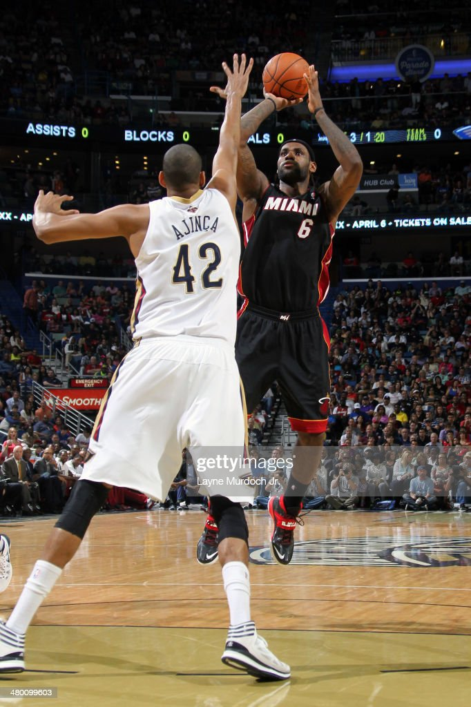 LeBron James #6 of the Miami Heat takes a shot against the New Orleans Pelicans on March 22, 2014 at the Smoothie King Center in New Orleans, Louisiana.