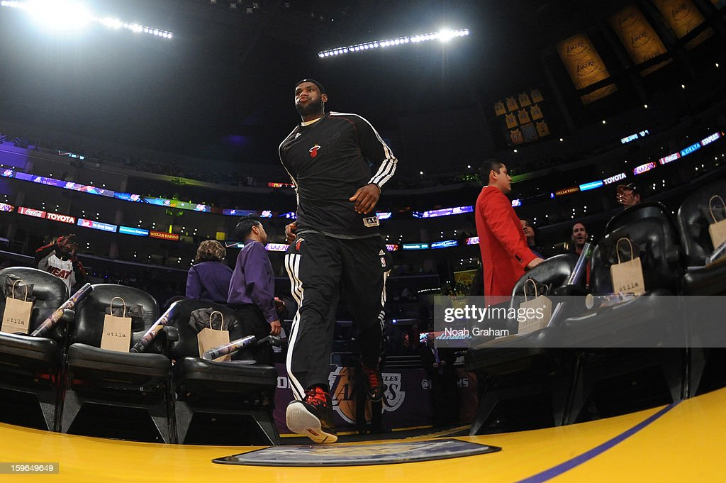 LeBron James #6 of the Miami Heat takes the floor before facing the Los Angeles Lakers at Staples Center on January 15, 2013 in Los Angeles, California.