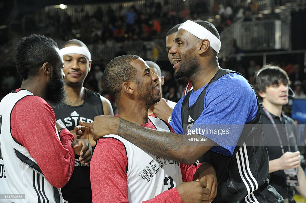 LeBron James #6 of the Miami Heat talks with Chris Paul #3 of the Los Angeles Clippers during the NBA All-Star Practice in Sprint Arena at Jam Session during the NBA All-Star Weekend on February 16, 2013 at the George R. Brown Convention Center in Houston, Texas.