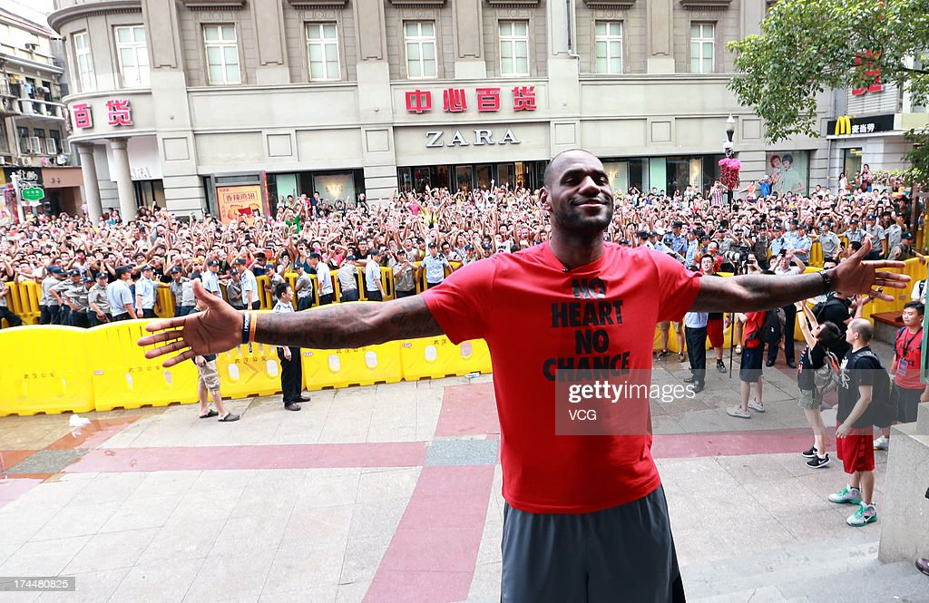 LeBron James of the Miami Heat visits a Nike store on July 26, 2013 in Wuhan, China.