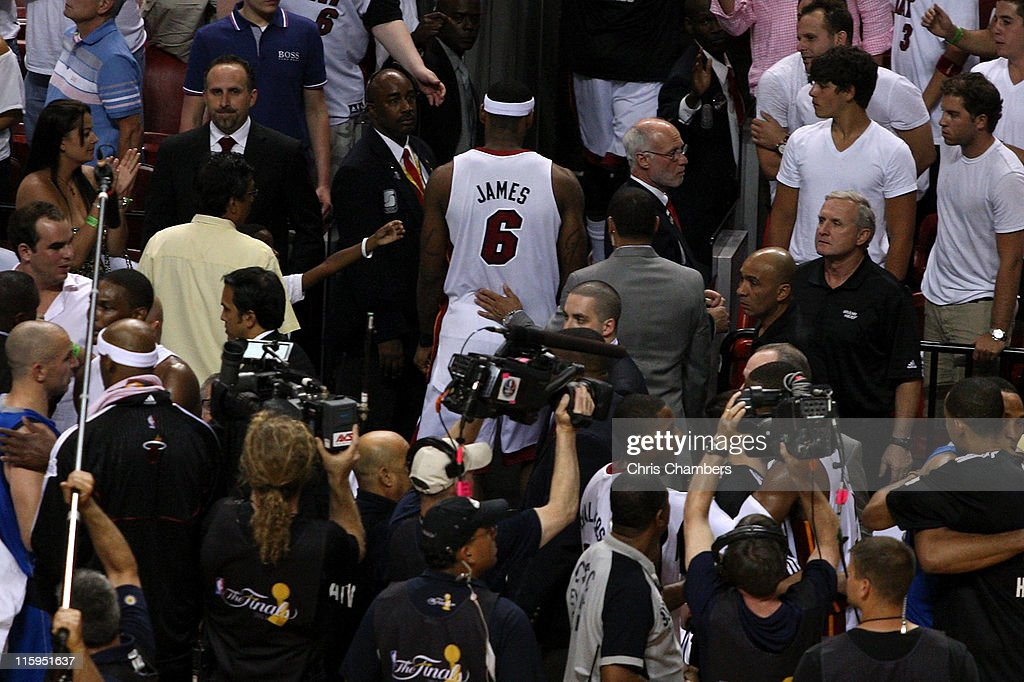 LeBron James #6 of the Miami Heat walks off the court after the Dallas Mavericks won 105-95 in Game Six of the 2011 NBA Finals at American Airlines Arena on June 12, 2011 in Miami, Florida.