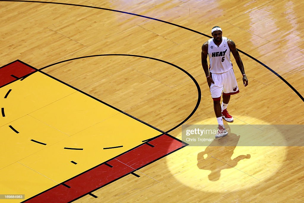 <a gi-track='captionPersonalityLinkClicked' href=/galleries/search?phrase=LeBron+James&family=editorial&specificpeople=201474 ng-click='$event.stopPropagation()'>LeBron James</a> #6 of the Miami Heat walks on the court in the second half against the Indiana Pacers during Game Seven of the Eastern Conference Finals of the 2013 NBA Playoffs at AmericanAirlines Arena on June 3, 2013 in Miami, Florida.