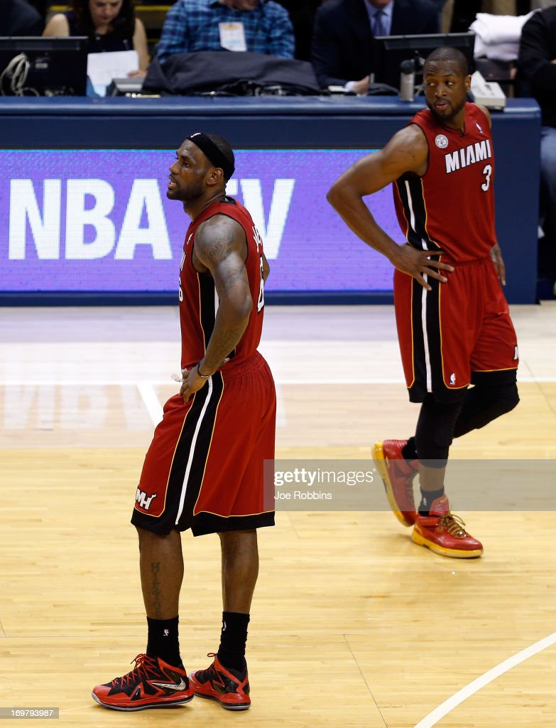 <a gi-track='captionPersonalityLinkClicked' href=/galleries/search?phrase=LeBron+James&family=editorial&specificpeople=201474 ng-click='$event.stopPropagation()'>LeBron James</a> #6 of the Miami Heat walks to the bench after being taken out towards the end of the fourth period in Game Six of the Eastern Conference Finals against the Indiana Pacers during the 2013 NBA Playoffs at Bankers Life Fieldhouse on June 1, 2013 in Indianapolis, Indiana.