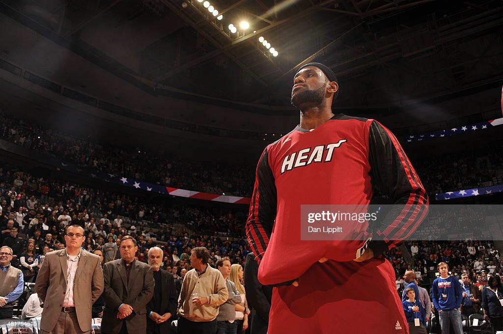 <a gi-track='captionPersonalityLinkClicked' href=/galleries/search?phrase=LeBron+James&family=editorial&specificpeople=201474 ng-click='$event.stopPropagation()'>LeBron James</a> #6 of the Miami Heat warms up before the game against the Detroit Pistons on March 28, 2014 at The Palace of Auburn Hills in Auburn Hills, Michigan.