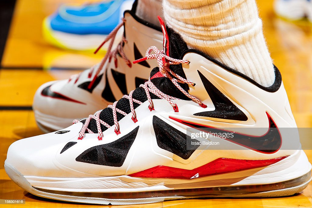 LeBron James #6 of the Miami Heat wears his Nike sneakers while playing the Golden State Warriors on December 12, 2012 at American Airlines Arena in Miami, Florida.