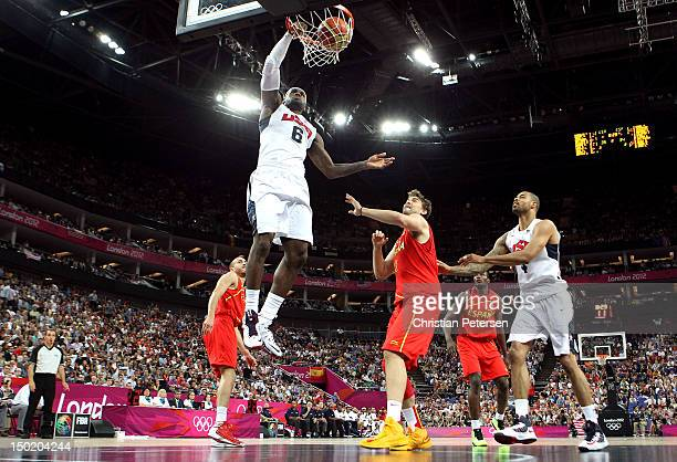 LeBron James of the United States dunks during the Men's Basketball gold medal game between the United States and Spain on Day 16 of the London 2012...