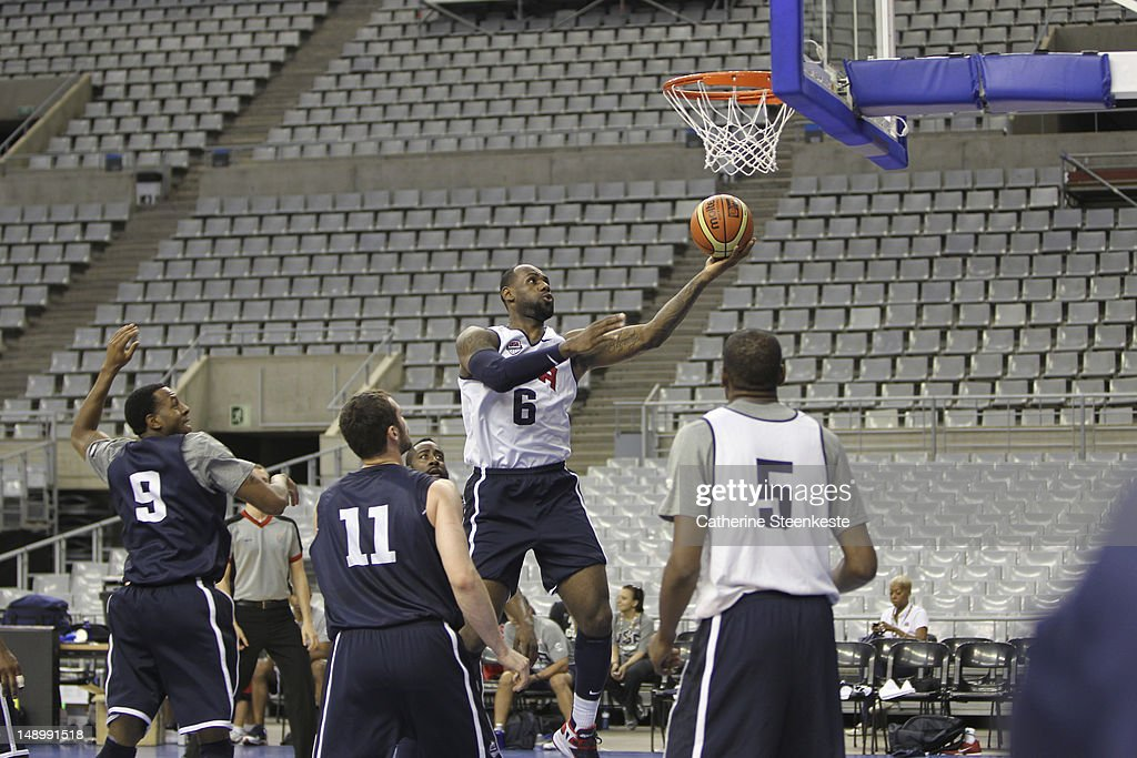 <a gi-track='captionPersonalityLinkClicked' href=/galleries/search?phrase=LeBron+James&family=editorial&specificpeople=201474 ng-click='$event.stopPropagation()'>LeBron James</a> # 6 of the US Men's Senior National team is shooting during practice at Palau Sant Jordi II arena in Barcelona, Spain on July 21, 2012.