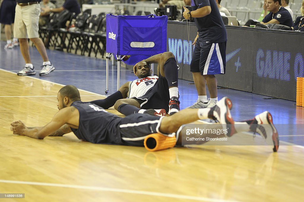 <a gi-track='captionPersonalityLinkClicked' href=/galleries/search?phrase=LeBron+James&family=editorial&specificpeople=201474 ng-click='$event.stopPropagation()'>LeBron James</a> # 6 of the US Men's Senior National team is stretching during practice at Palau Sant Jordi II arena in Barcelona, Spain on July 21, 2012.