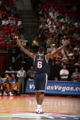 LeBron James of the USA Men's Senior National Team reacts during a game against the Virgin Islands during the first round of the 2007 FIBA Americas...