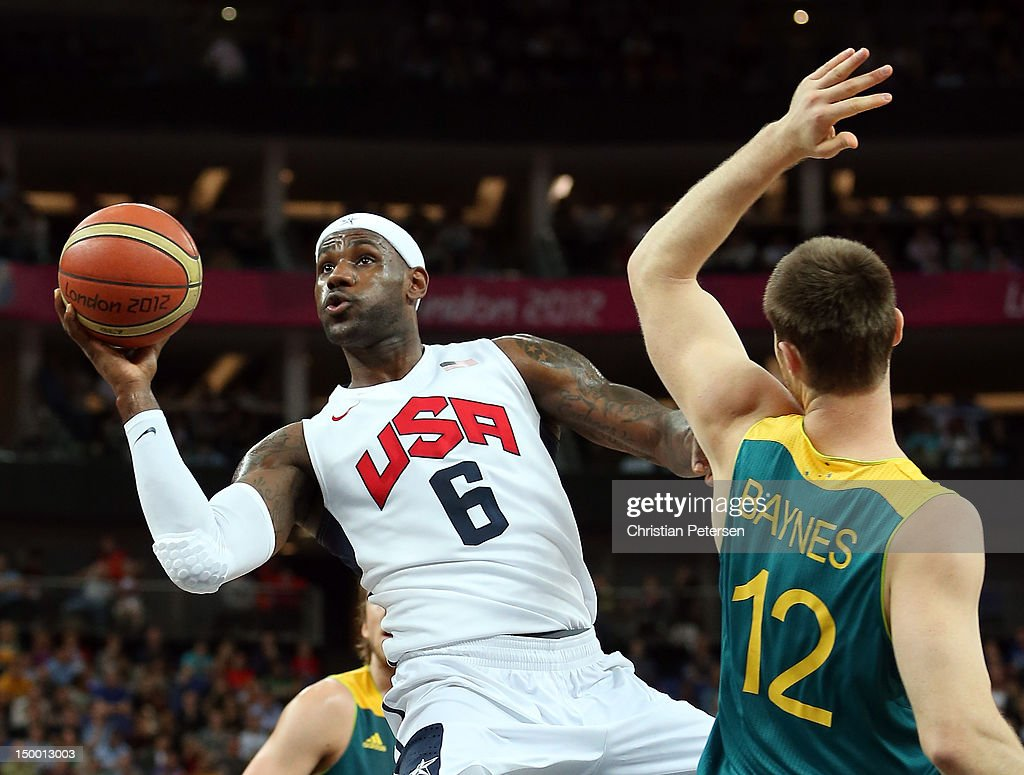 <a gi-track='captionPersonalityLinkClicked' href=/galleries/search?phrase=LeBron+James&family=editorial&specificpeople=201474 ng-click='$event.stopPropagation()'>LeBron James</a> #6 of United States goes up for a shot against Aron Baynes #12 of Australia in the first half during the Men's Basketball quaterfinal game on Day 12 of the London 2012 Olympic Games at North Greenwich Arena on August 8, 2012 in London, England.