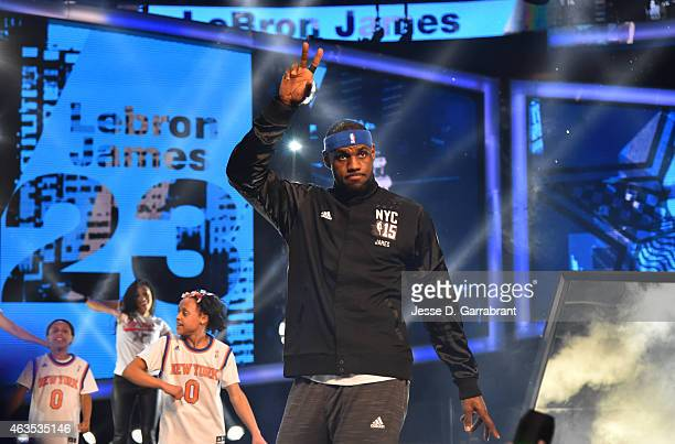 LeBron James playing for the East Coast allstars comes out to the crowd prior to the 2015 NBA AllStar Game at Madison Square Garden on February 15...