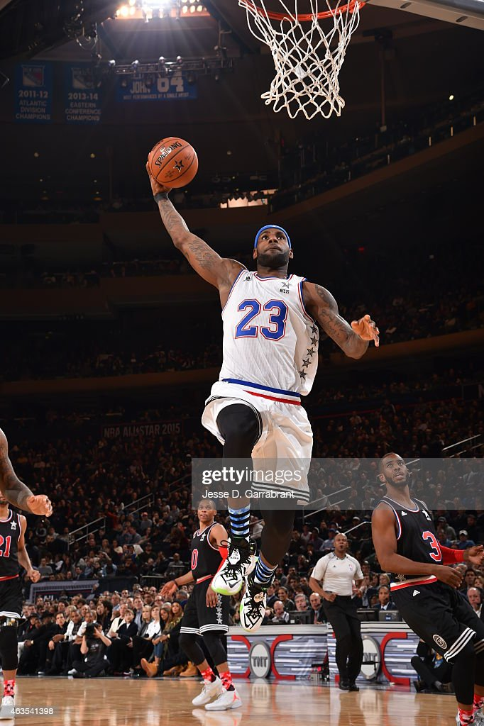 LeBron James playing for the East Coast allstars goes up for the dunk during the 2015 NBA AllStar Game at Madison Square Garden on February 15 2015...