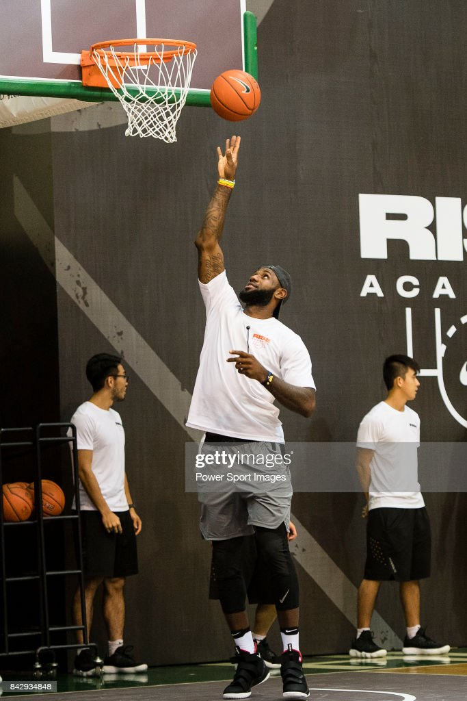 Lebron James poses for photos with local players of Hong Kong at the Rise Academy Challenge on September 5, 2017 in Hong Kong, Hong Kong.