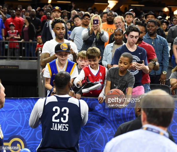 LeBron James the Eastern Conference AllStars greets fans during the NBA DLeague All Star Game as part of 2017 AllStar Weekend at the MercedesBenz...