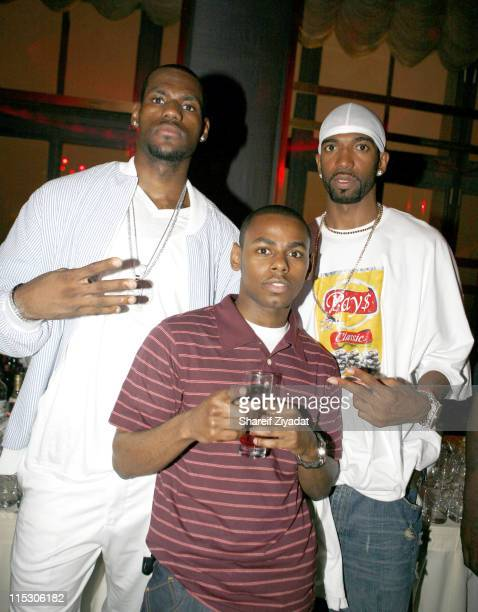 Lebron James Young Von and Rip Hamilton during JayZ Celebrates the 10th Anniversary of 'Reasonable Doubt' Inside at Rainbow Room in New York United...