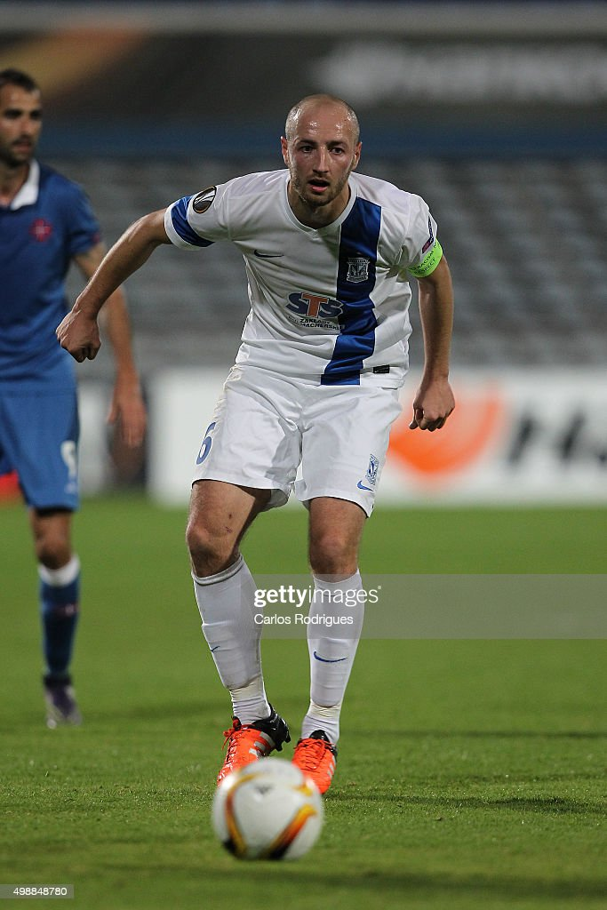KKS Lech Poznan's forward <a gi-track='captionPersonalityLinkClicked' href=/galleries/search?phrase=Szymon+Pawlowski&family=editorial&specificpeople=8043042 ng-click='$event.stopPropagation()'>Szymon Pawlowski</a> during the match between Belenenses v Lech Poznan for the UEFA Europa League: Play Off Round 2nd Leg on November 26, 2015 in Lisbon, Portugal.