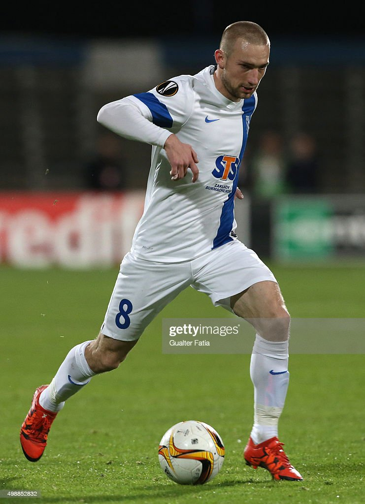 Lech Poznan's forward <a gi-track='captionPersonalityLinkClicked' href=/galleries/search?phrase=Szymon+Pawlowski&family=editorial&specificpeople=8043042 ng-click='$event.stopPropagation()'>Szymon Pawlowski</a> in action during the UEFA Europa League match between Os Belenenses and KKS Lech Poznan at Estadio do Restelo on November 26, 2015 in Lisbon, Portugal.