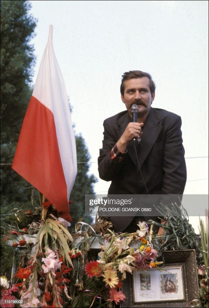 <a gi-track='captionPersonalityLinkClicked' href=/galleries/search?phrase=Lech+Walesa&family=editorial&specificpeople=93677 ng-click='$event.stopPropagation()'>Lech Walesa</a> speaks during a Gdansk shipyards strike on August 21, 1980 in Gdansk, Poland. Walesa served as President of Poland from 1990 - 1995 and won the Nobel Peace Prize in 1983.