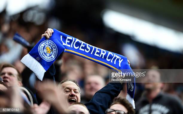 Lecicester fans enjoy the atmosphere during the Barclays Premier League match between Leicester City and Swansea City at The King Power Stadium on...