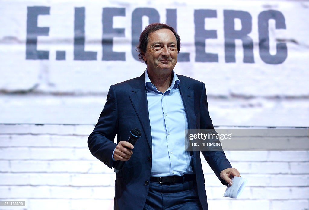 Leclerc CEO Michel-Edouard Leclerc addresses France's Public Investment Bank Banque Publique d'Investissement (BPI Bpifrance) event 'Bpifrance Inno Generation' at the AccorHotels Arena in Paris on May 25, 2016. / AFP / ERIC