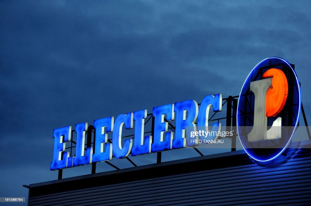 Leclerc hypermarket's neon sign is pictured February 11, 2013 in Brest, western of France. TANNEAU