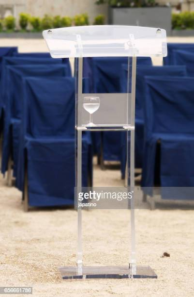 Lectern prepared for a political rally with the auditorium empty
