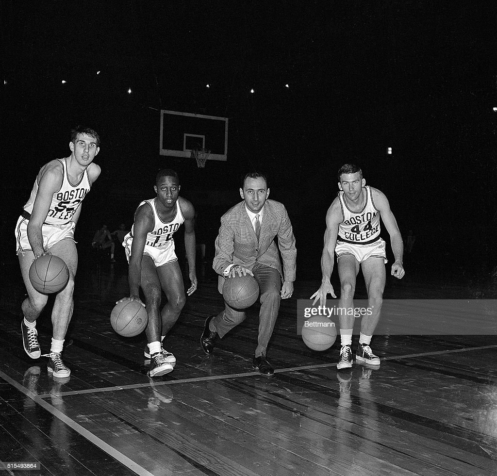 Coach Bob Cousy with Boston College Basketball Players