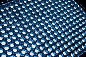 Led diode panel with light. Led panel background. Macro shot.