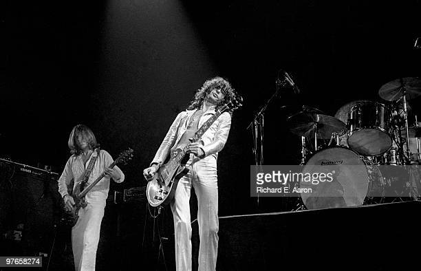 Led Zeppelin perform live on stage at Madison Square Garden New York on June 07 1977 LR John Paul Jones Jimmy Page John Bonham