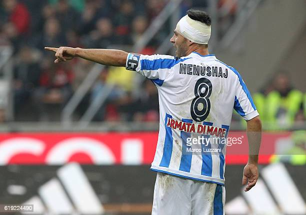Ledian Memushaj of Pescara Calcio gestures during the Serie A match between AC Milan and Pescara Calcio at Stadio Giuseppe Meazza on October 30 2016...