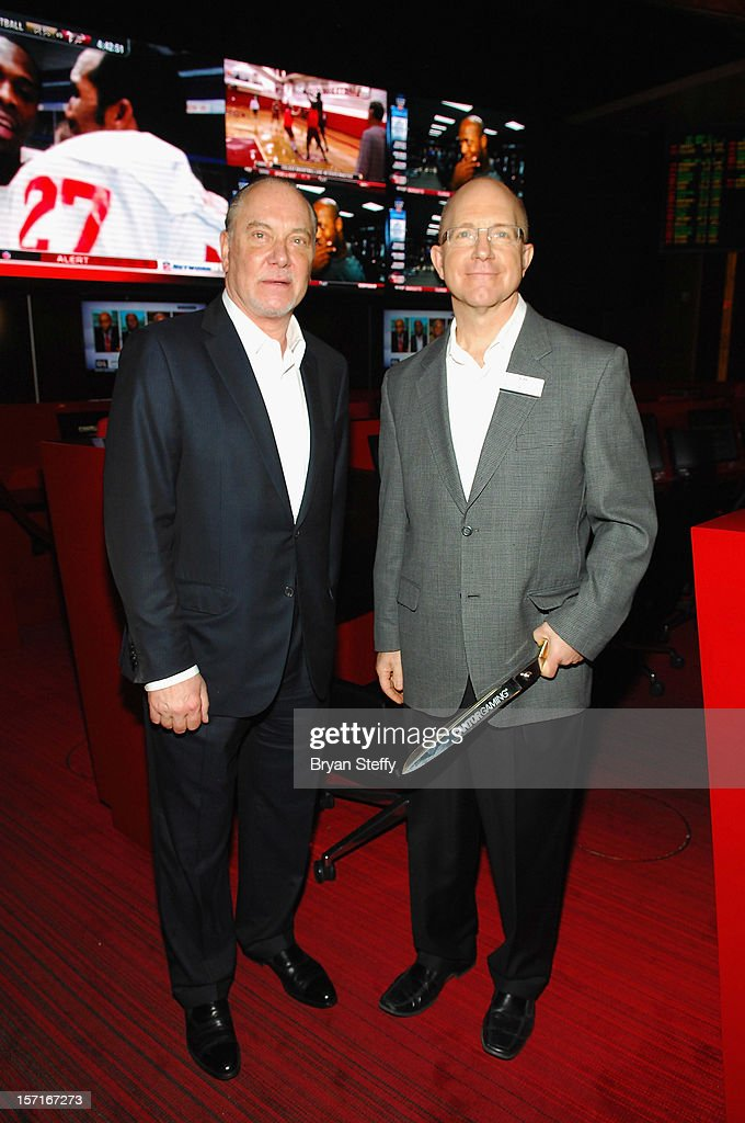 Lee Amaitis, President & CEO of Cantor Gaming (L) and Kirk Golding, SR Vice President of Silverton Casino Lodge, appear at the announcement of the Cantor Gaming sportsbook at the Silverton Casino Lodge on November 29, 2012 in Las Vegas, Nevada.