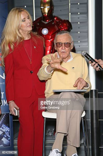 C Lee and her father comic book icon Stan Lee speak at Marvel Avengers STATION at the Treasure Island Hotel Casino on November 18 2016 in Las Vegas...