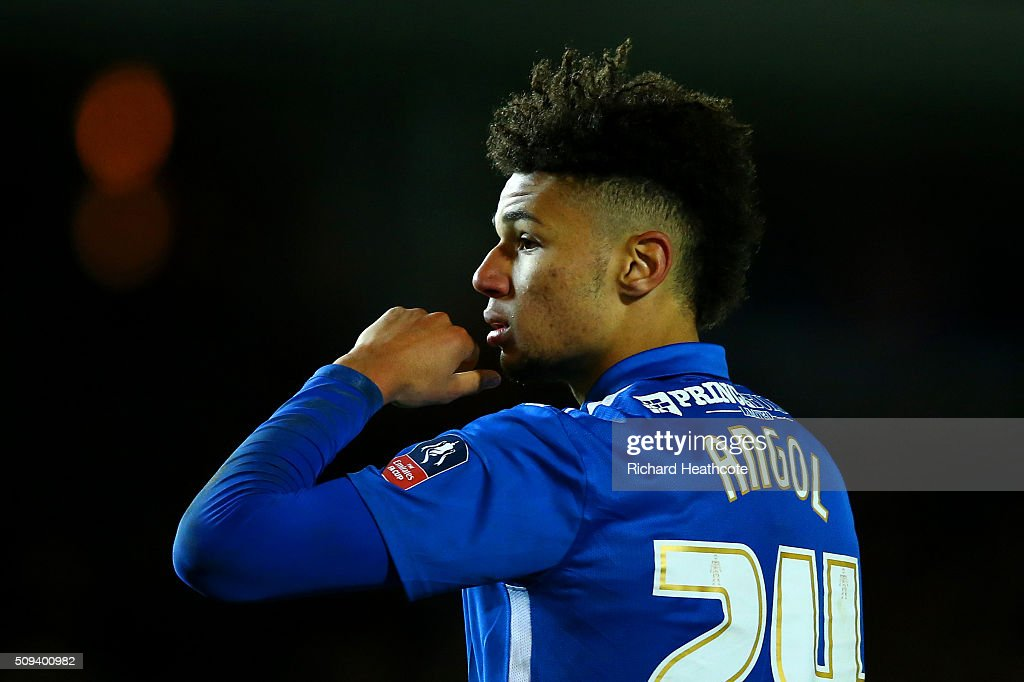 Lee Angol of Peterborough reacts after missing his penalty during the penalty shootout in the Emirates FA Cup fourth round replay match between Peterborough United and West Bromwich Albion at ABAX Stadium on February 10, 2016 in Peterborough, England.