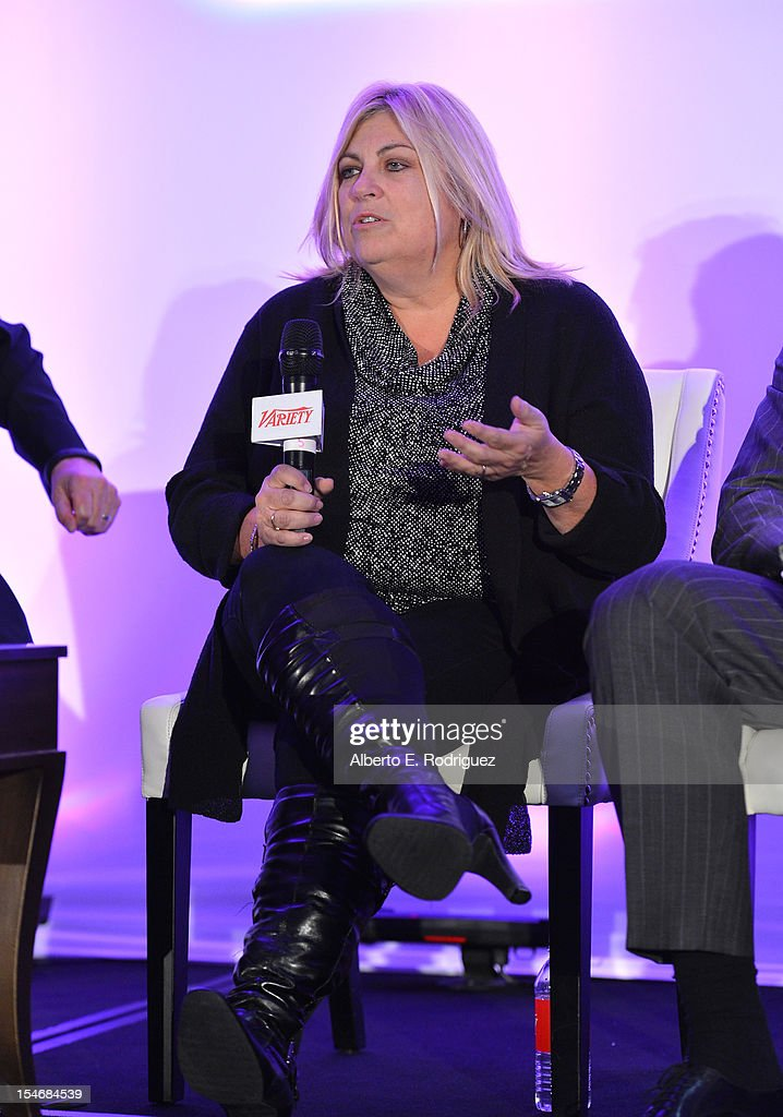 Lee Anne Stables, President, Consumer Products & Executive Vice President, Worldwide Marketing speaks onstage during the Global Partnership panel at Variety's 2012 Film Marketing Summit in Association with Stradella Road at InterContinental Hotel on October 24, 2012 in Century City, California.