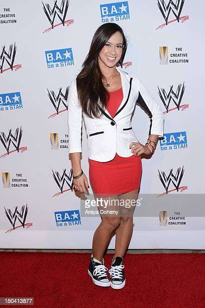 Lee attends the WWE SummerSlam VIP KickOff Party at The Beverly Hills Hotel on August 16 2012 in Beverly Hills California