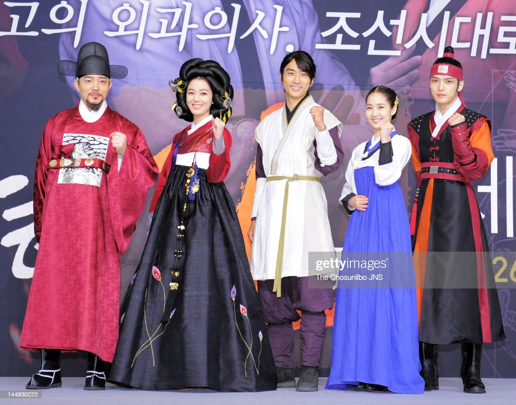 Lee Beom-Soo, Lee So-Yeon, Song Seung-Heon, Park Min-Young, and Kim Jae-Joong of JYJ attend the MBC Drama 'Dr. Jin' Press Conference at Lotte Hotel on May 17, 2012 in Seoul, South Korea.