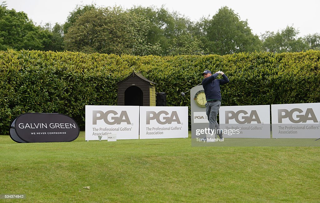 Lee Bettison of Chilwell Manor Golf Club plays his first shot on the 1st tee during the PGA Assistants Championships - Midlands Qualifier at the Coventry Golf Club on May 26, 2016 in Coventry, England.
