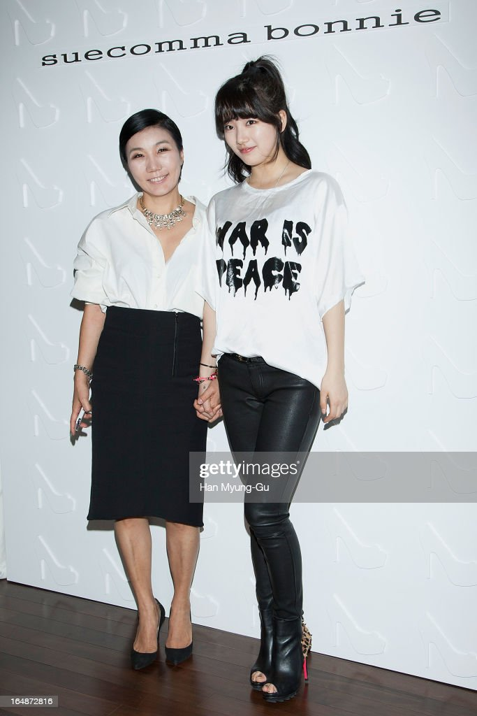 Lee Bo-Hyun, Suecomma Bonnie designer and Suzy of girl group Miss A attend the 'Suecomma Bonnie' 10th Anniversary Exhibition at Conrad Hotel on March 28, 2013 in Seoul, South Korea.