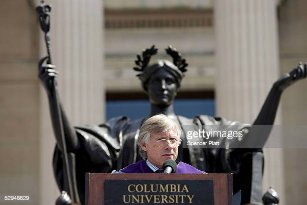 Lee Bollinger President of Columbia University gives the commencement address at Columbia University May 18 2005 in New York City This is the 251st...
