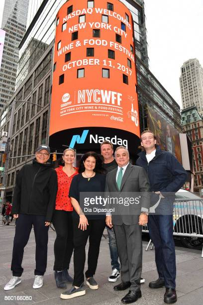 Lee Brian Schrager founder and director of the Food Network Cooking Channel New York City Wine Food Festival presented by CocaCola poses with chefs...