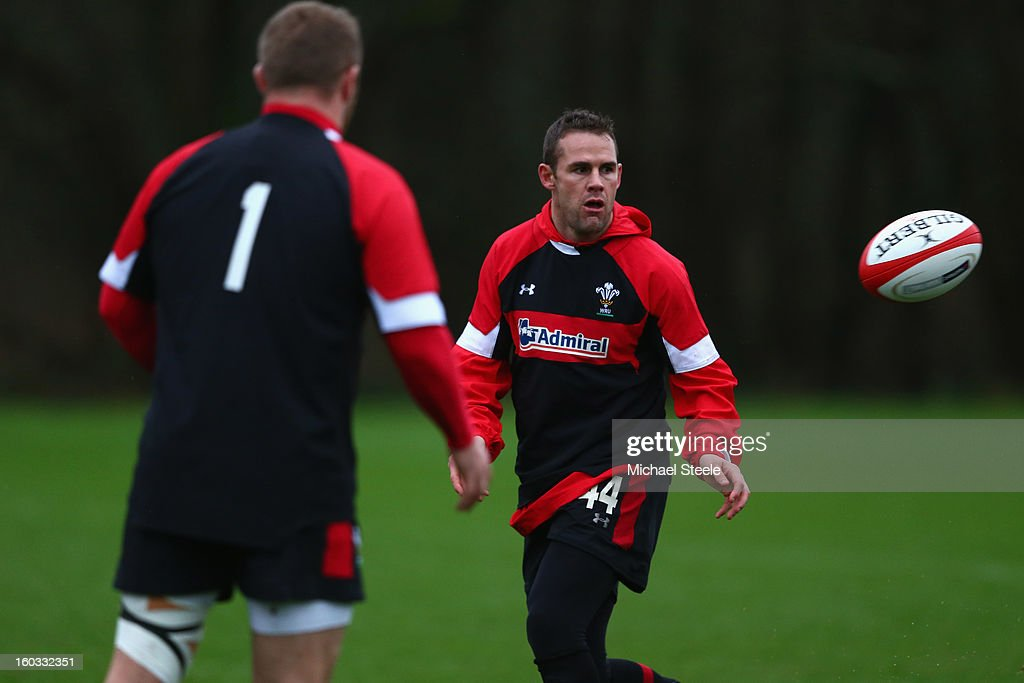 <a gi-track='captionPersonalityLinkClicked' href=/galleries/search?phrase=Lee+Byrne&family=editorial&specificpeople=460147 ng-click='$event.stopPropagation()'>Lee Byrne</a> (R) during the Wales training session at Vale Resort on January 29, 2013 in Cardiff, Wales.